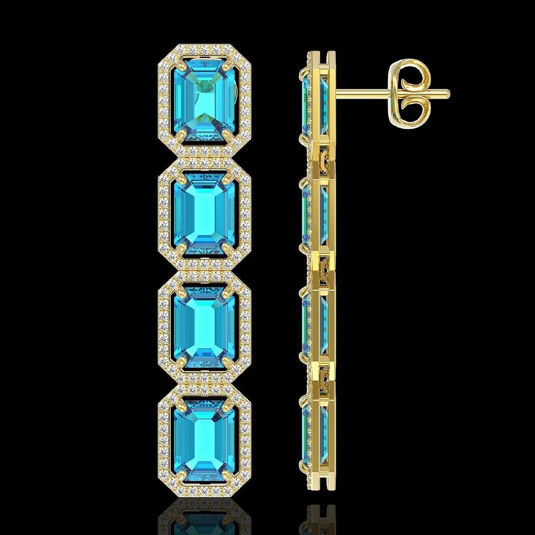 18.99 CTW Swiss Topaz & Diamond Halo Earrings 10K - 2