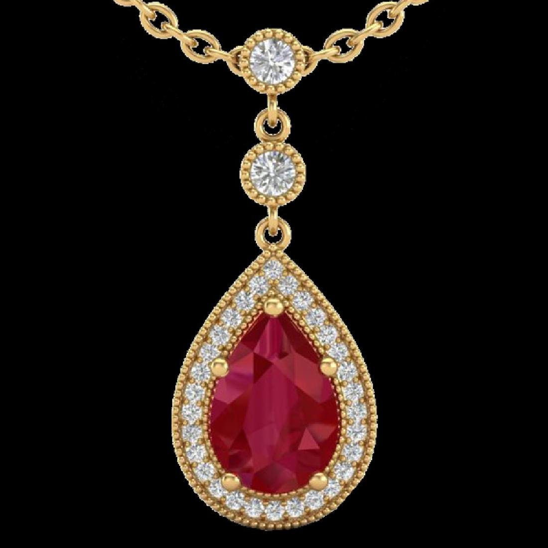 2.75 CTW Ruby & Micro Pave VS/SI Diamond Necklace - 2