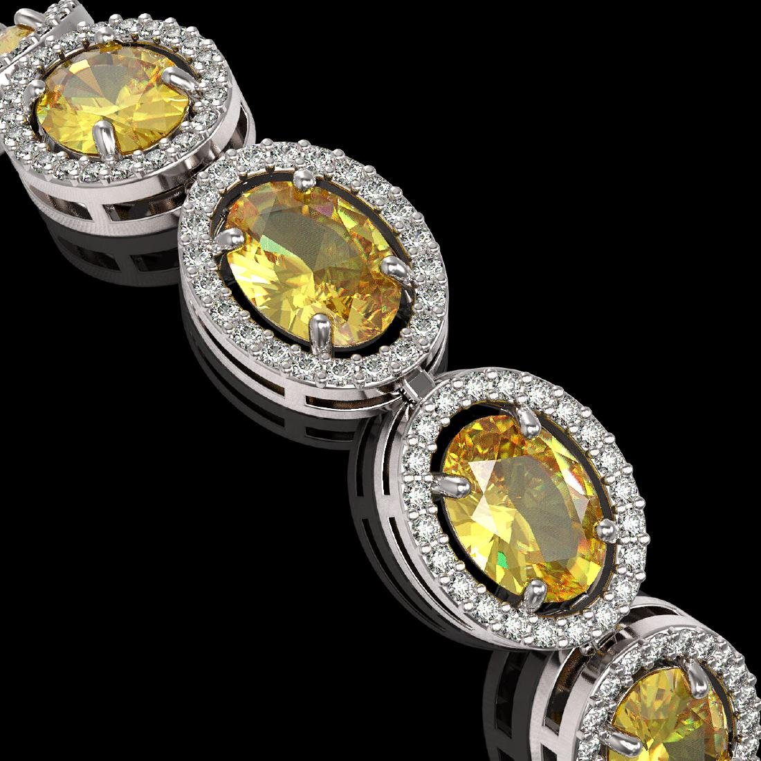20.36 CTW Fancy Citrine & Diamond Halo Bracelet 10K - 3