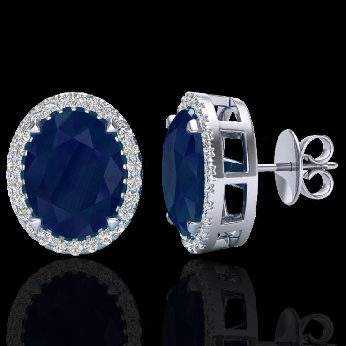5.50 CTW Sapphire & Micro VS/SI Diamond Halo Earrings - 2