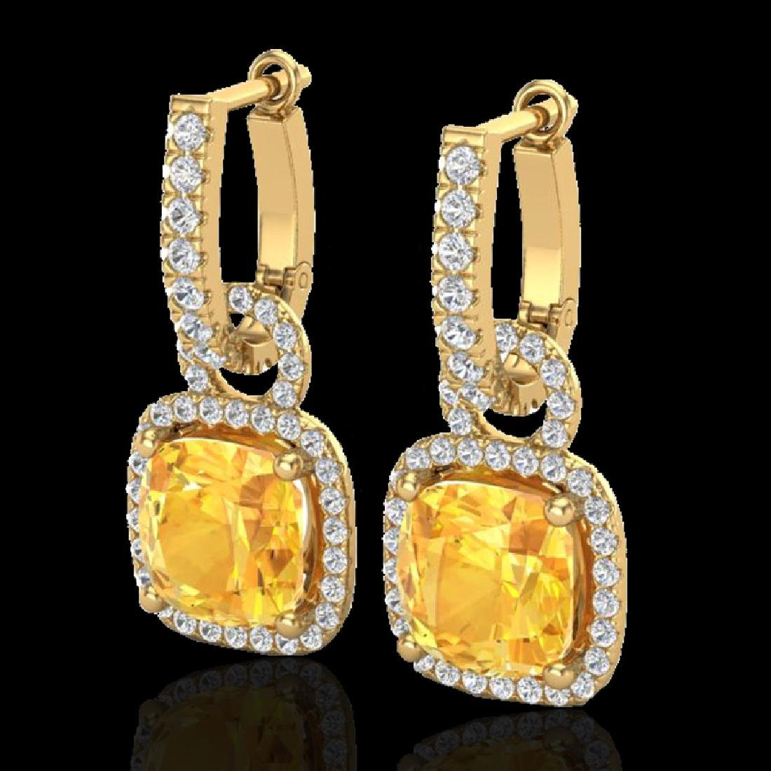 7 CTW Citrine & Micro Pave VS/SI Diamond Earrings 18K