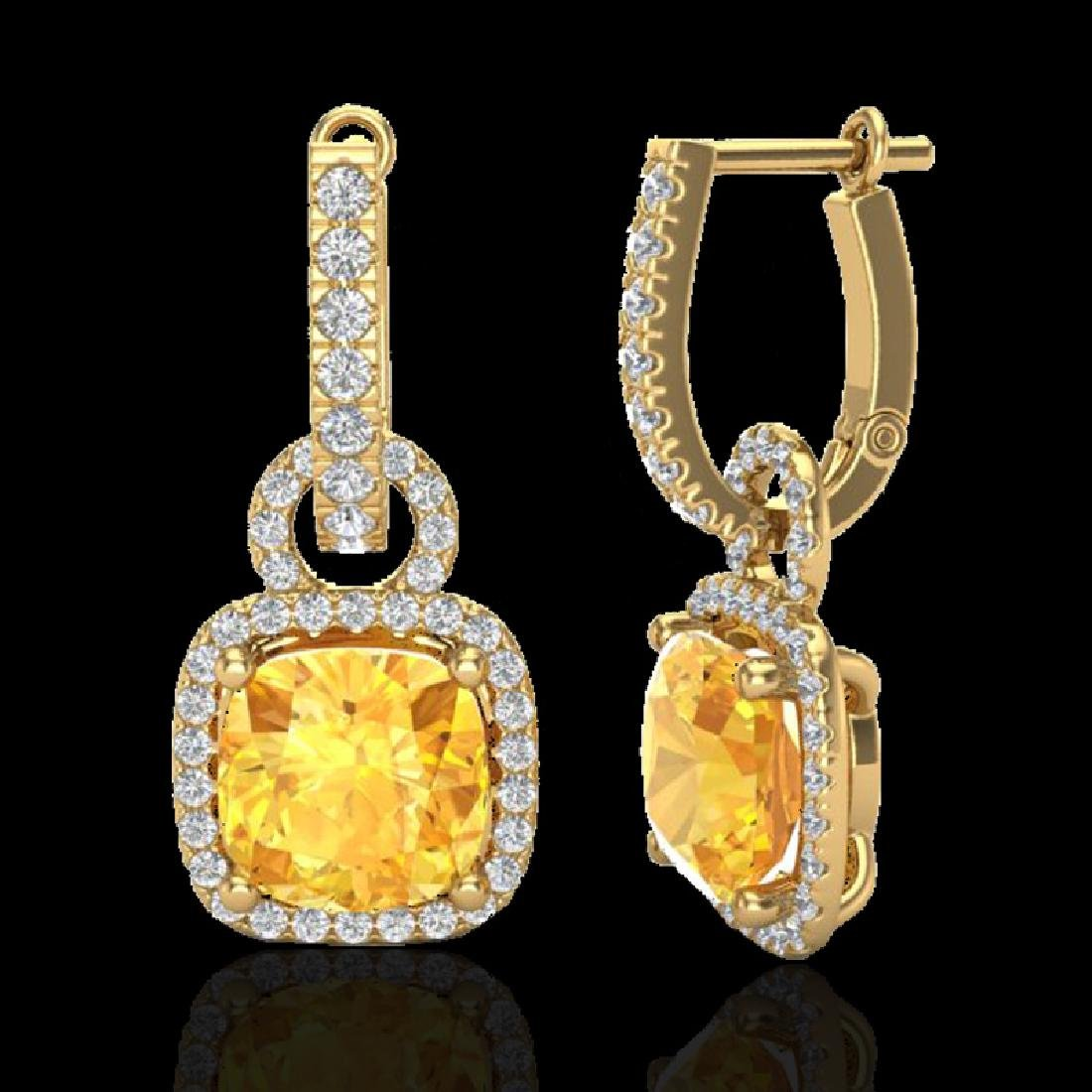 7 CTW Citrine & Micro Pave VS/SI Diamond Earrings 18K - 2