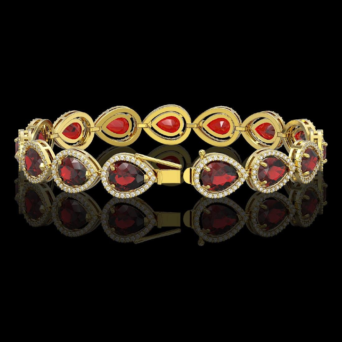 17.45 CTW Garnet & Diamond Halo Bracelet 10K Yellow - 2