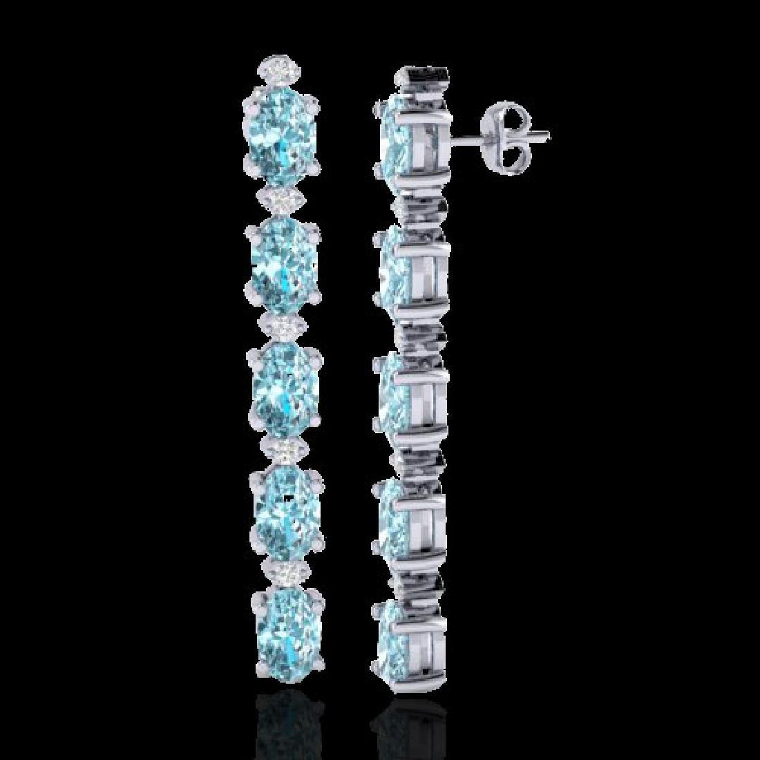 10.36 CTW Sky Blue Topaz & VS/SI Certified Diamond - 2