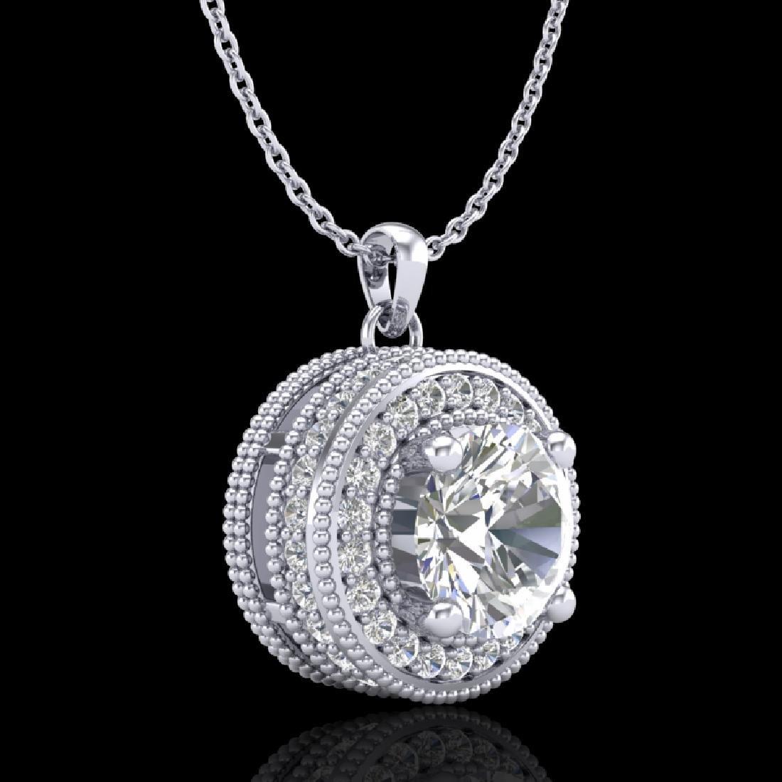 1.25 CTW VS/SI Diamond Solitaire Art Deco Stud Necklace - 3