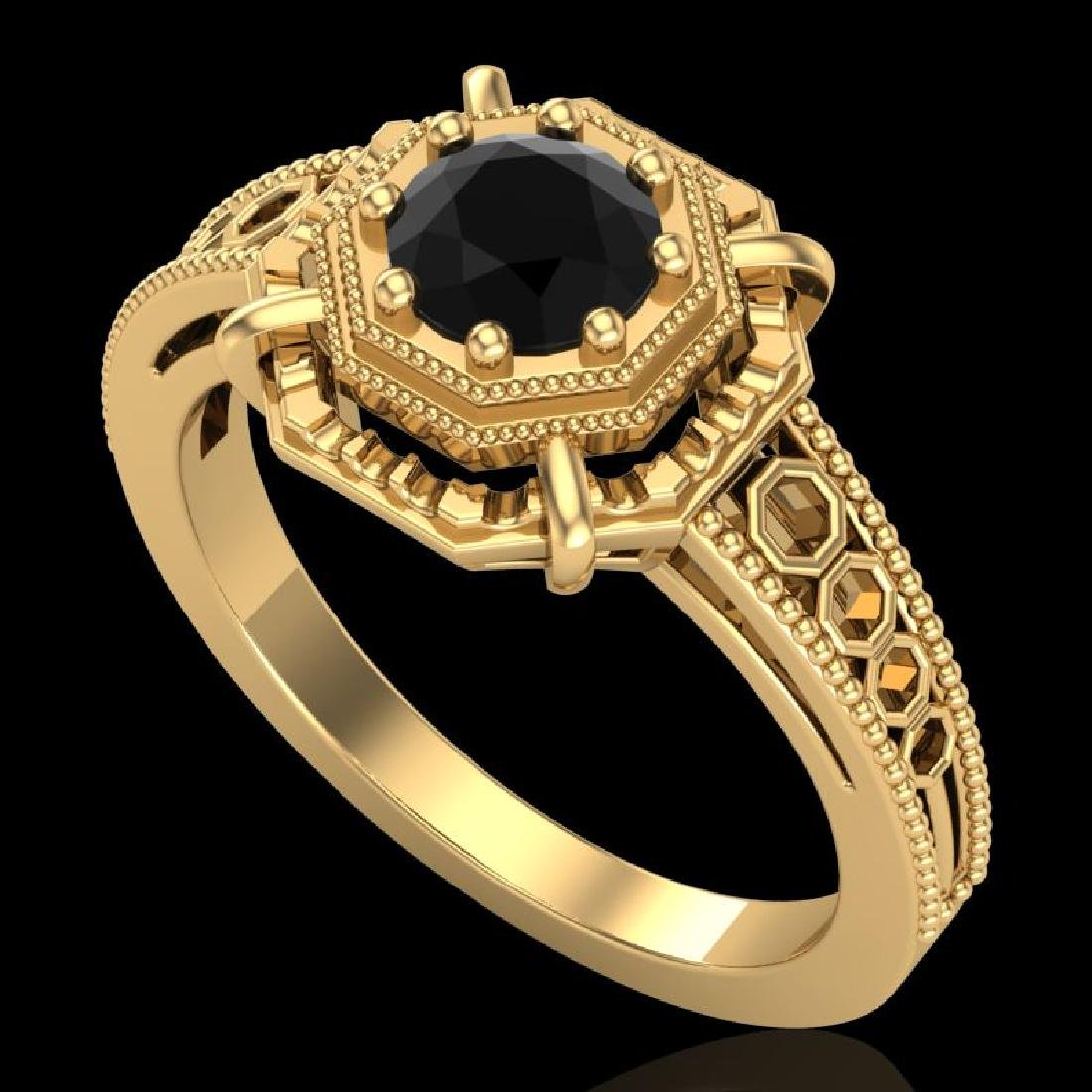 0.53 CTW Fancy Black Diamond Solitaire Engagement Art