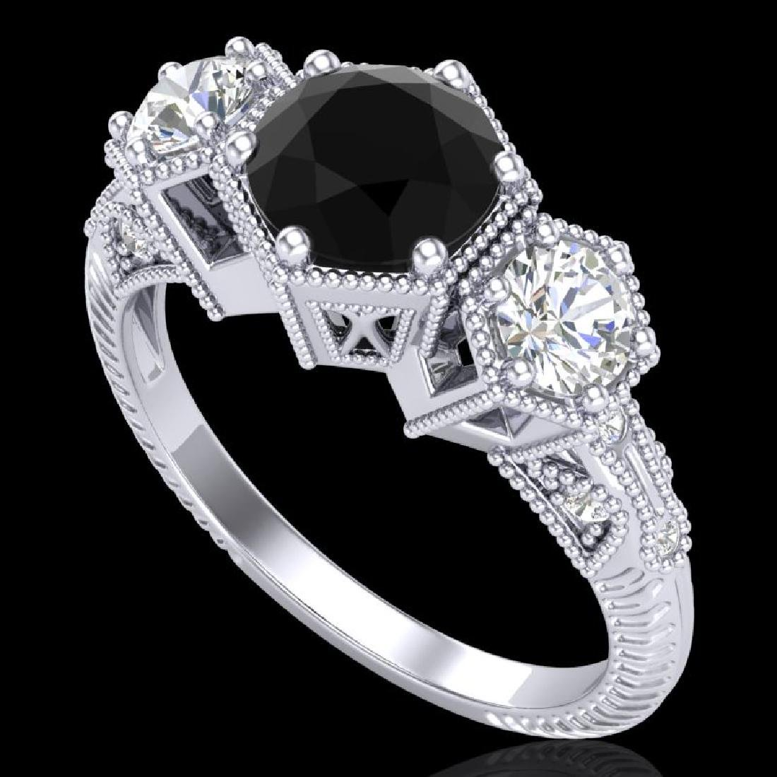 1.66 CTW Fancy Black Diamond Solitaire Art Deco 3 Stone