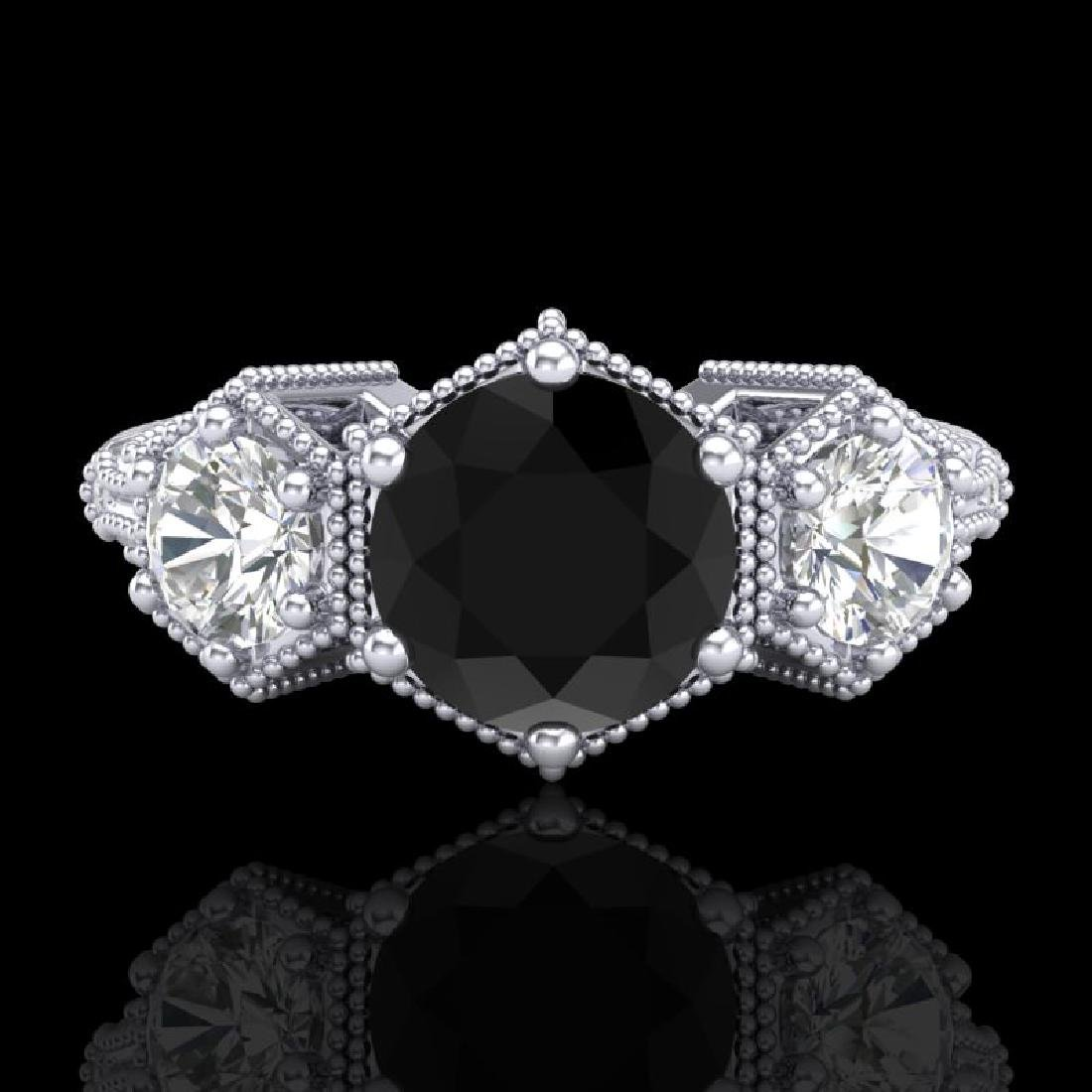 1.66 CTW Fancy Black Diamond Solitaire Art Deco 3 Stone - 2