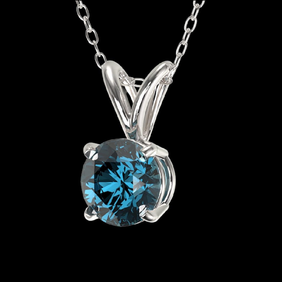 0.53 CTW Certified Intense Blue SI Diamond Solitaire - 2