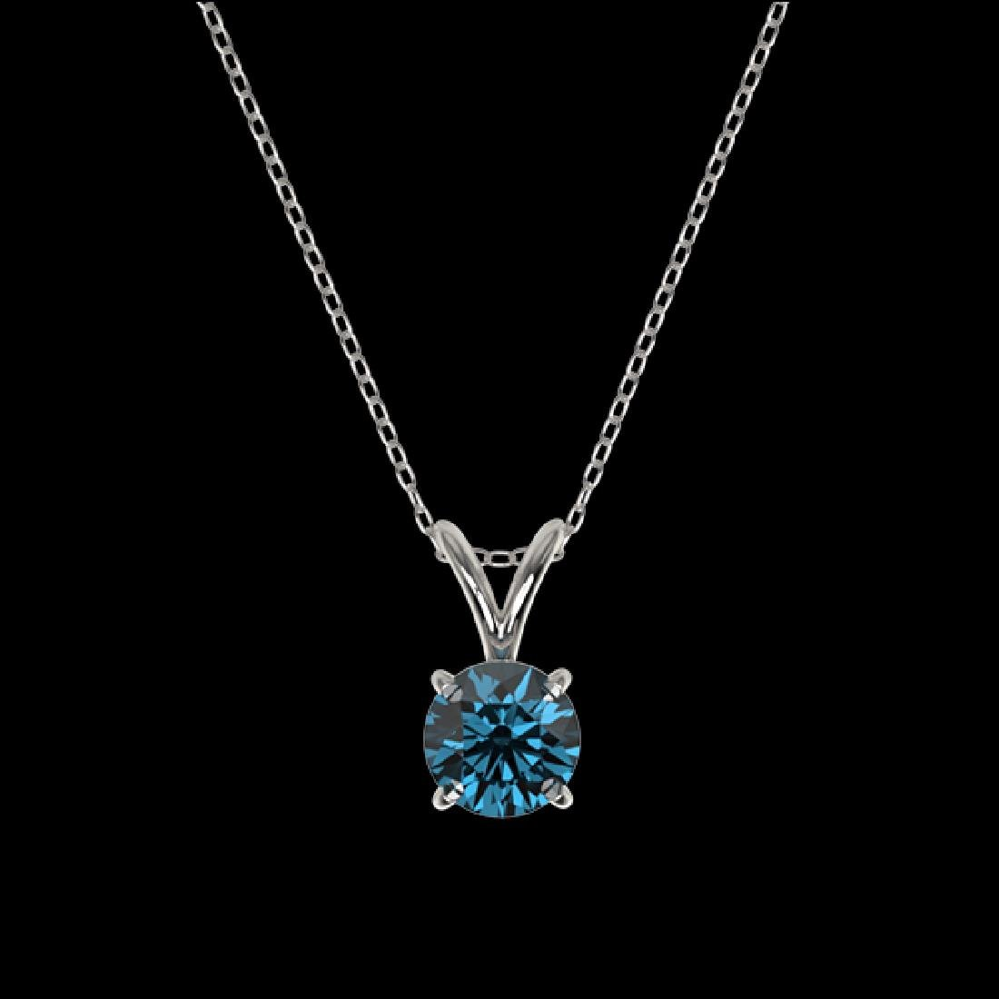 0.53 CTW Certified Intense Blue SI Diamond Solitaire - 3