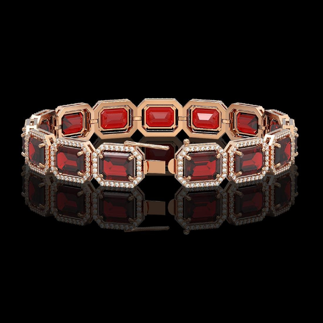 33.41 CTW Garnet & Diamond Halo Bracelet 10K Rose Gold - 2