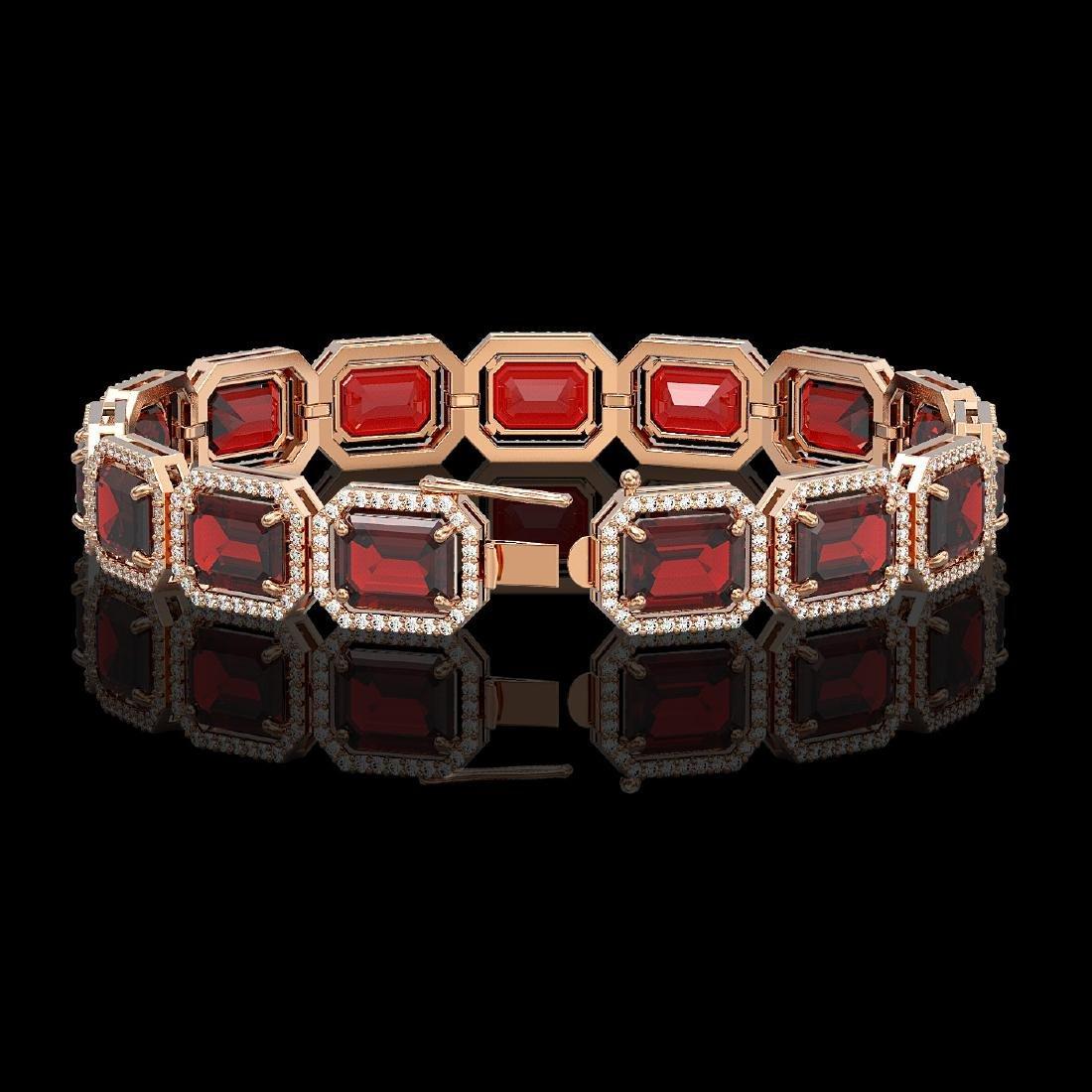33.41 CTW Garnet & Diamond Halo Bracelet 10K Rose Gold - 2