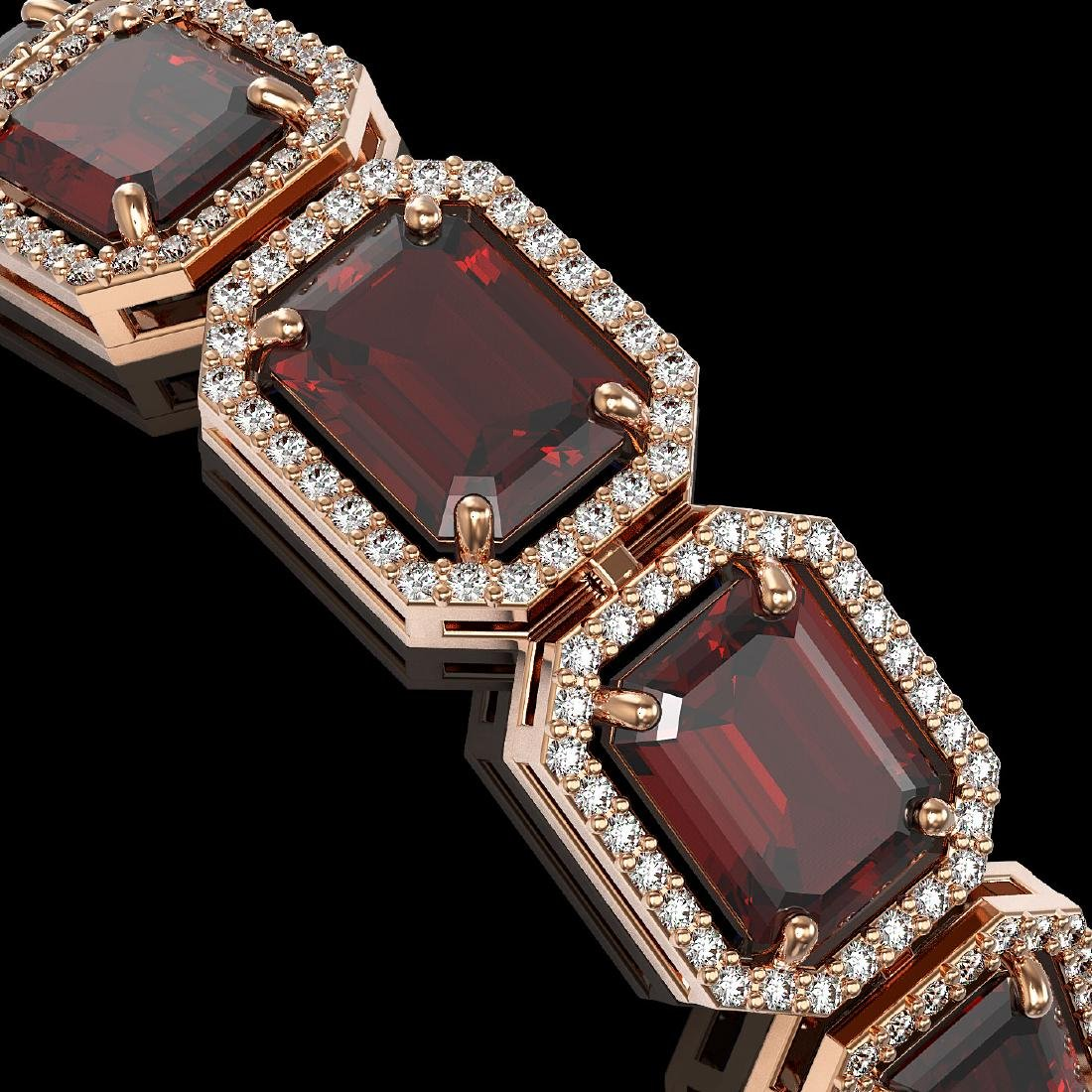 33.41 CTW Garnet & Diamond Halo Bracelet 10K Rose Gold - 3