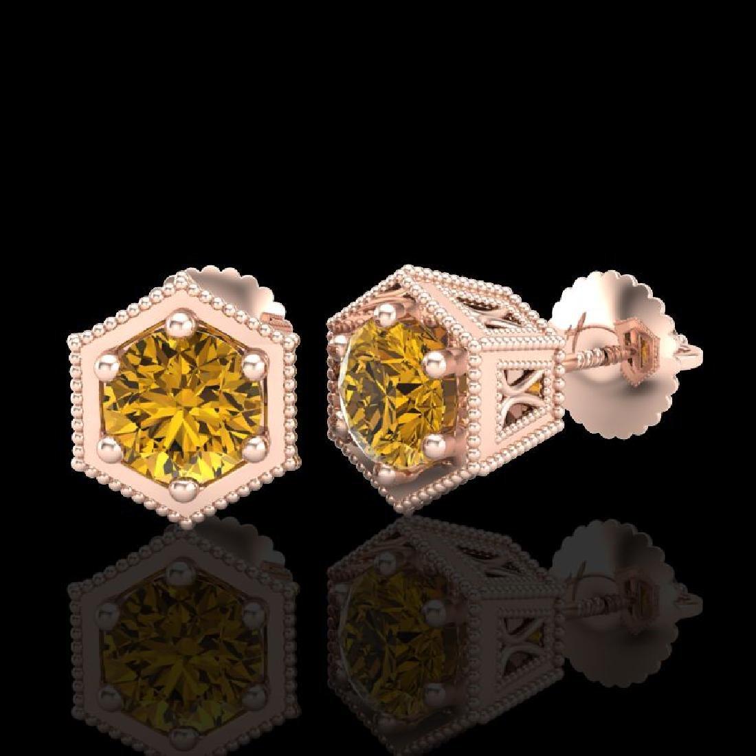 1.15 CTW Intense Fancy Yellow Diamond Art Deco Stud - 2