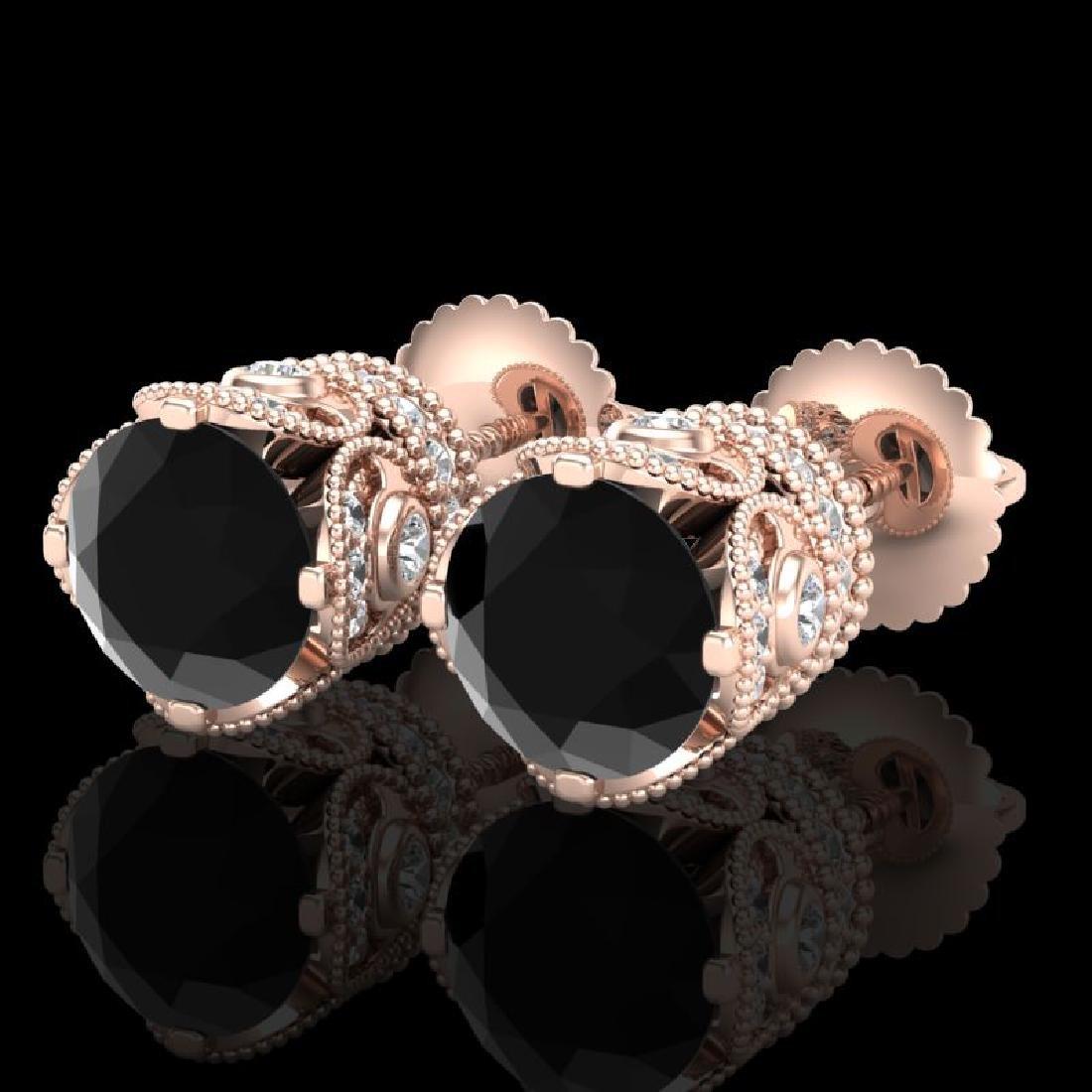 3 CTW Fancy Black Diamond Solitaire Art Deco Stud