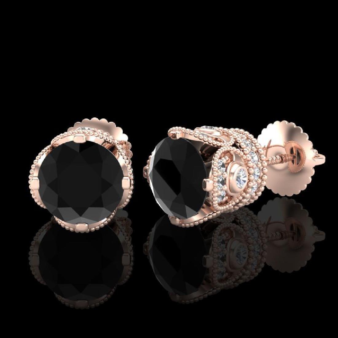3 CTW Fancy Black Diamond Solitaire Art Deco Stud - 2
