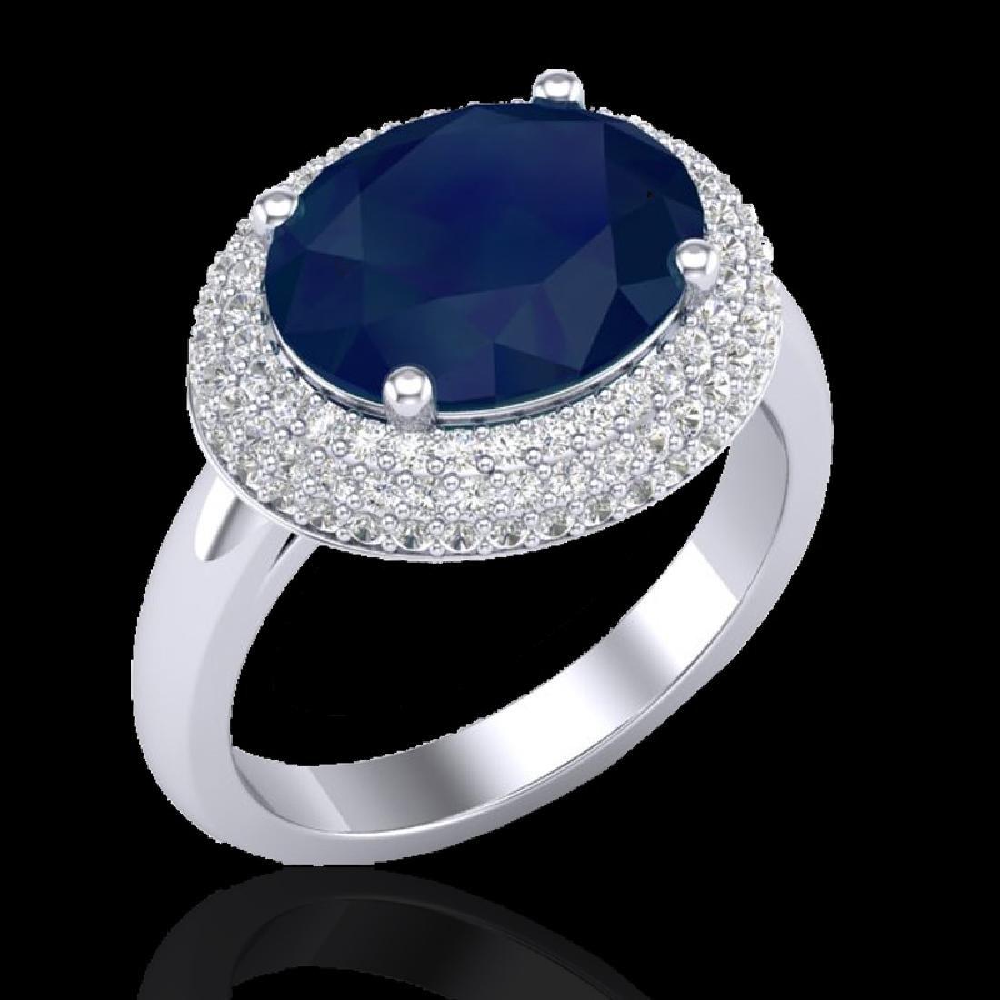 4.50 CTW Sapphire & Micro Pave VS/SI Diamond Ring 18K