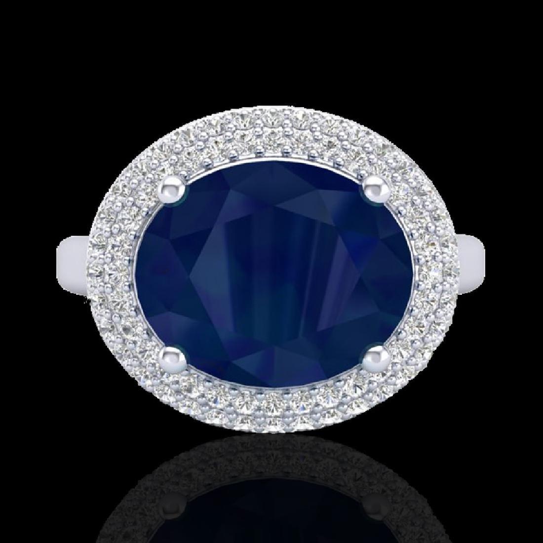 4.50 CTW Sapphire & Micro Pave VS/SI Diamond Ring 18K - 2