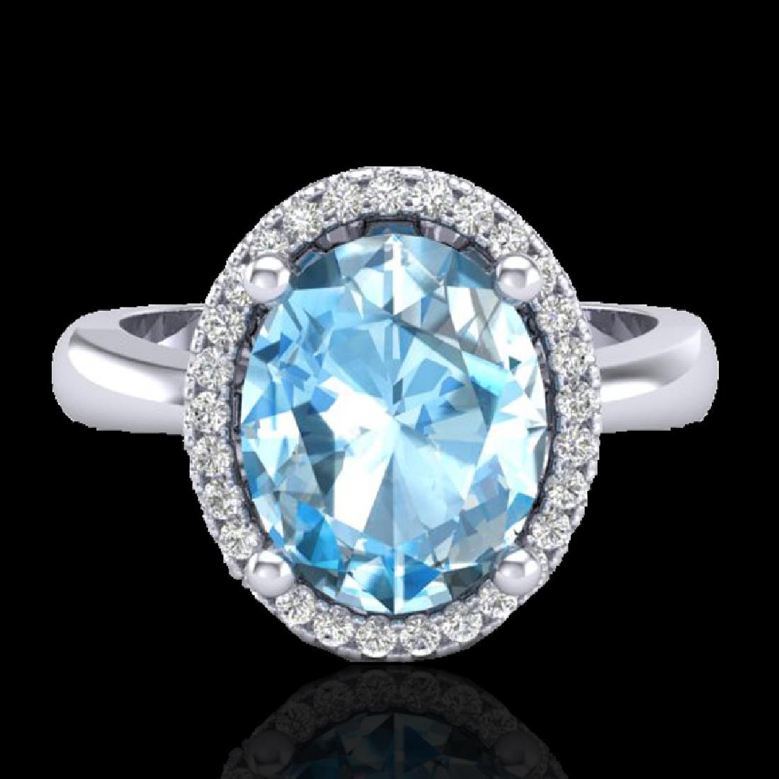 3 CTW Sky Blue Topaz & Micro Pave VS/SI Diamond Ring