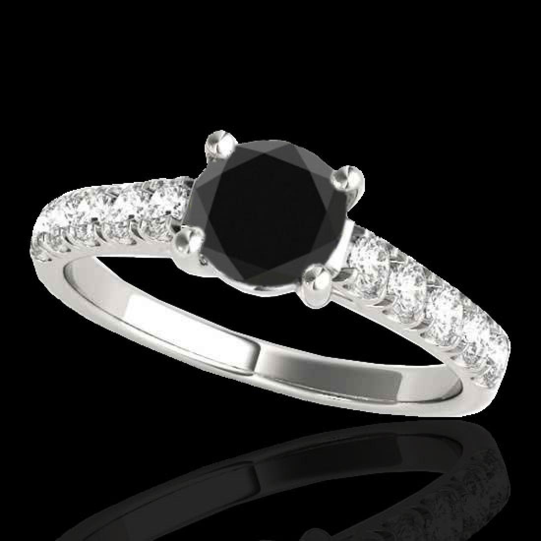 2.1 CTW Certified VS Black Diamond Solitaire Ring 10K