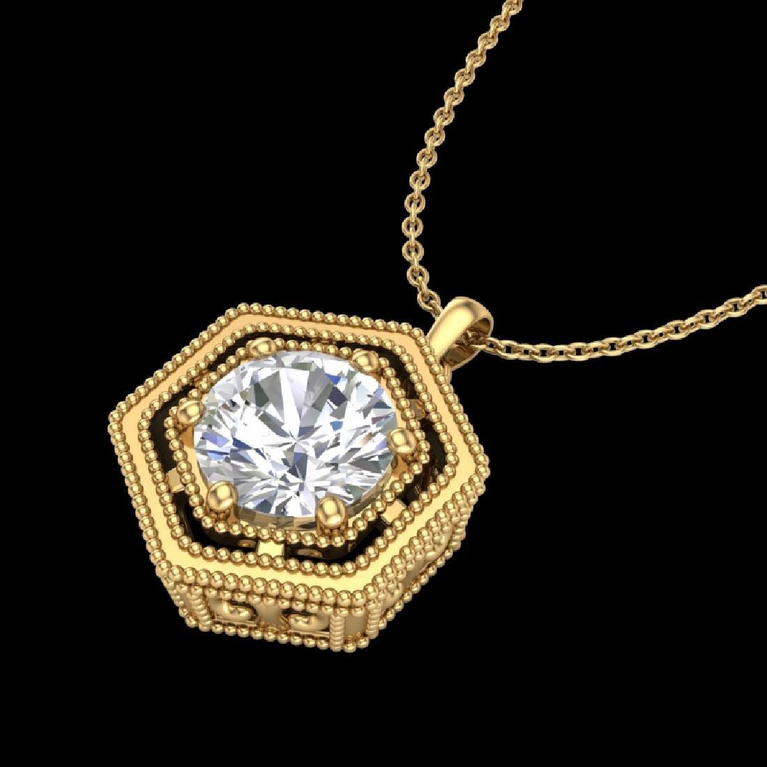 0.76 CTW VS/SI Diamond Solitaire Art Deco Necklace 18K - 2
