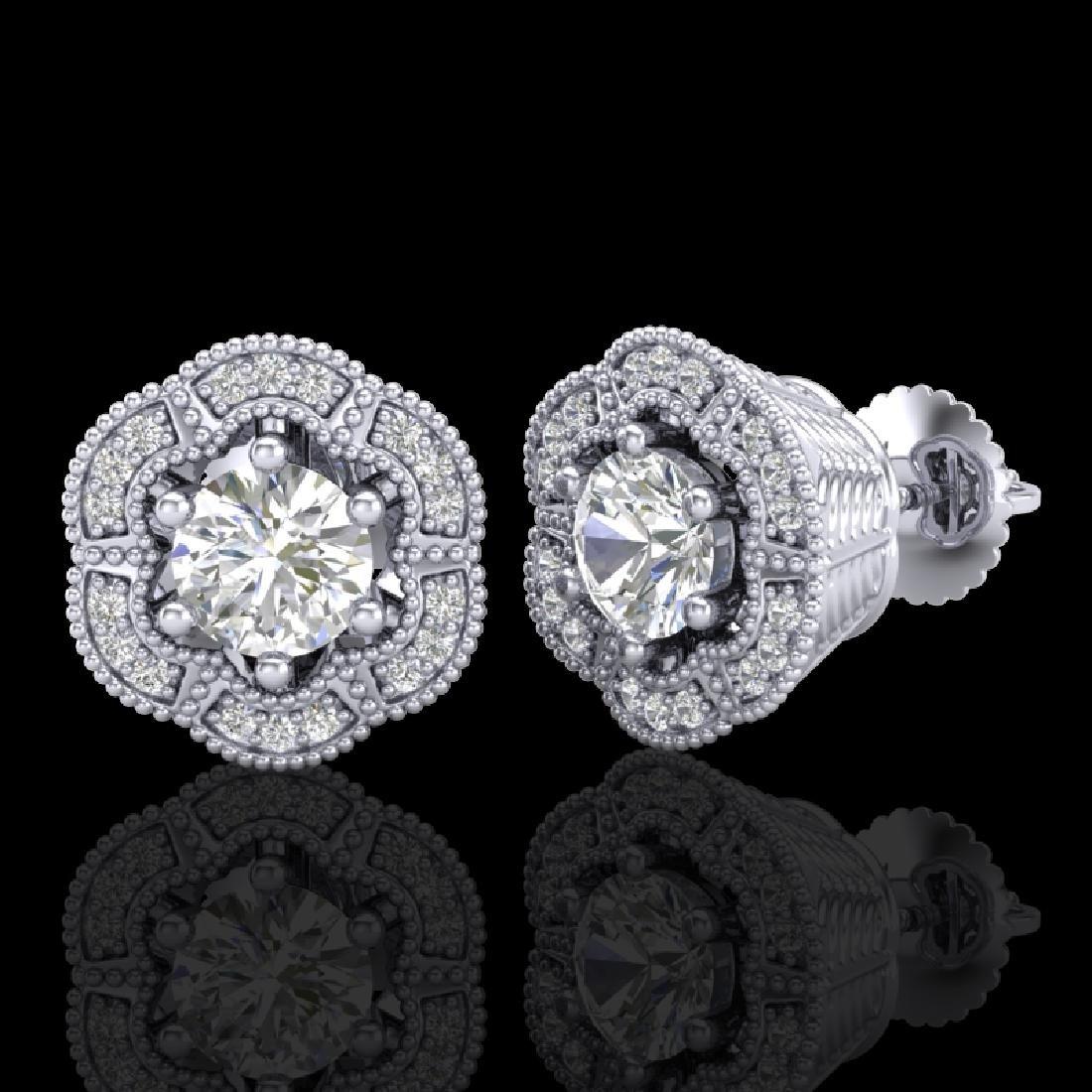 1.51 CTW VS/SI Diamond Solitaire Art Deco Stud Earrings - 2