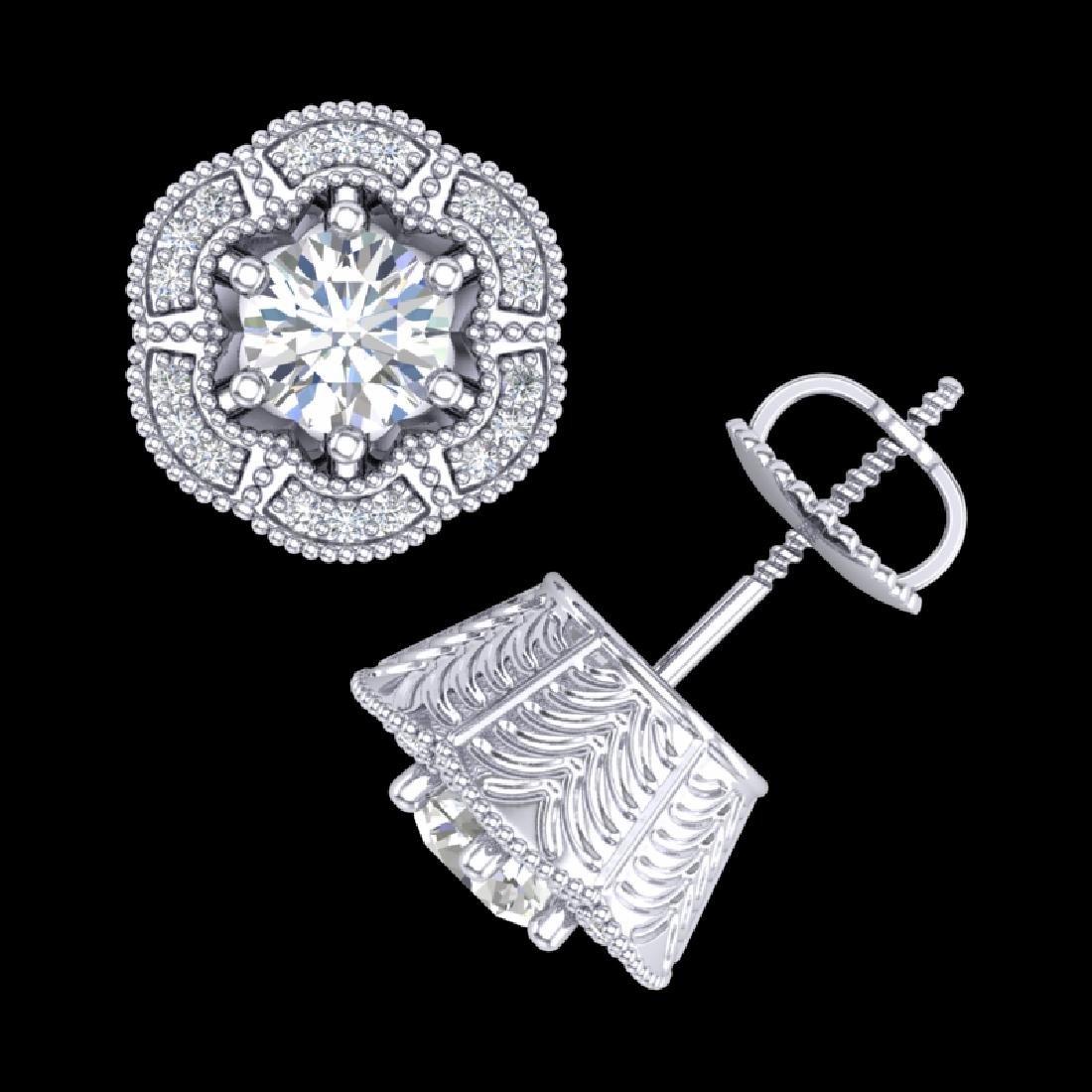 1.51 CTW VS/SI Diamond Solitaire Art Deco Stud Earrings - 3