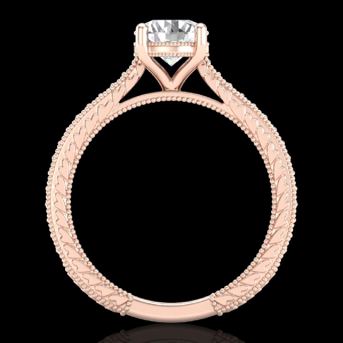 1.45 CTW VS/SI Diamond Solitaire Art Deco Ring 18K Rose