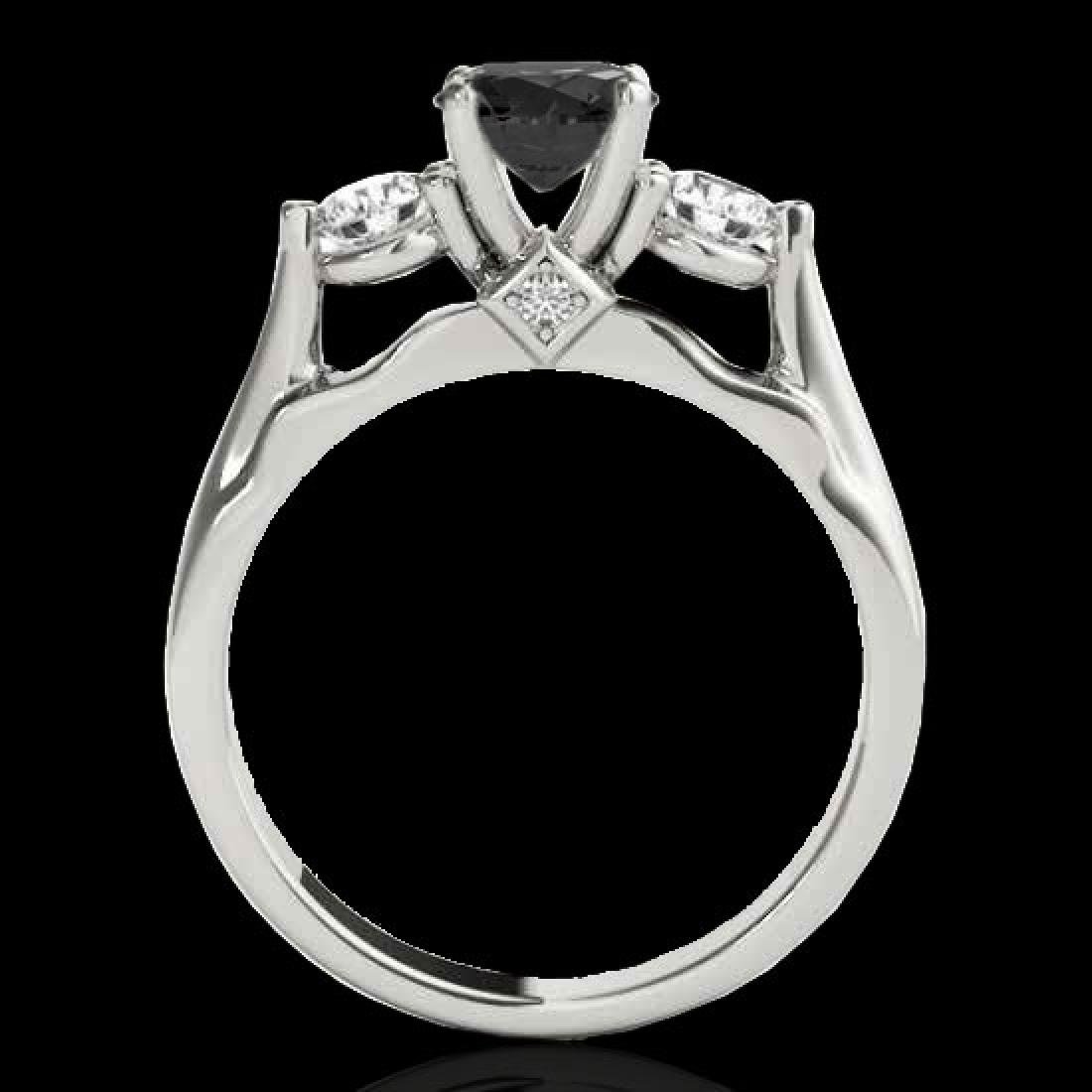 1.75 CTW Certified VS Black Diamond 3 Stone Ring 10K - 2