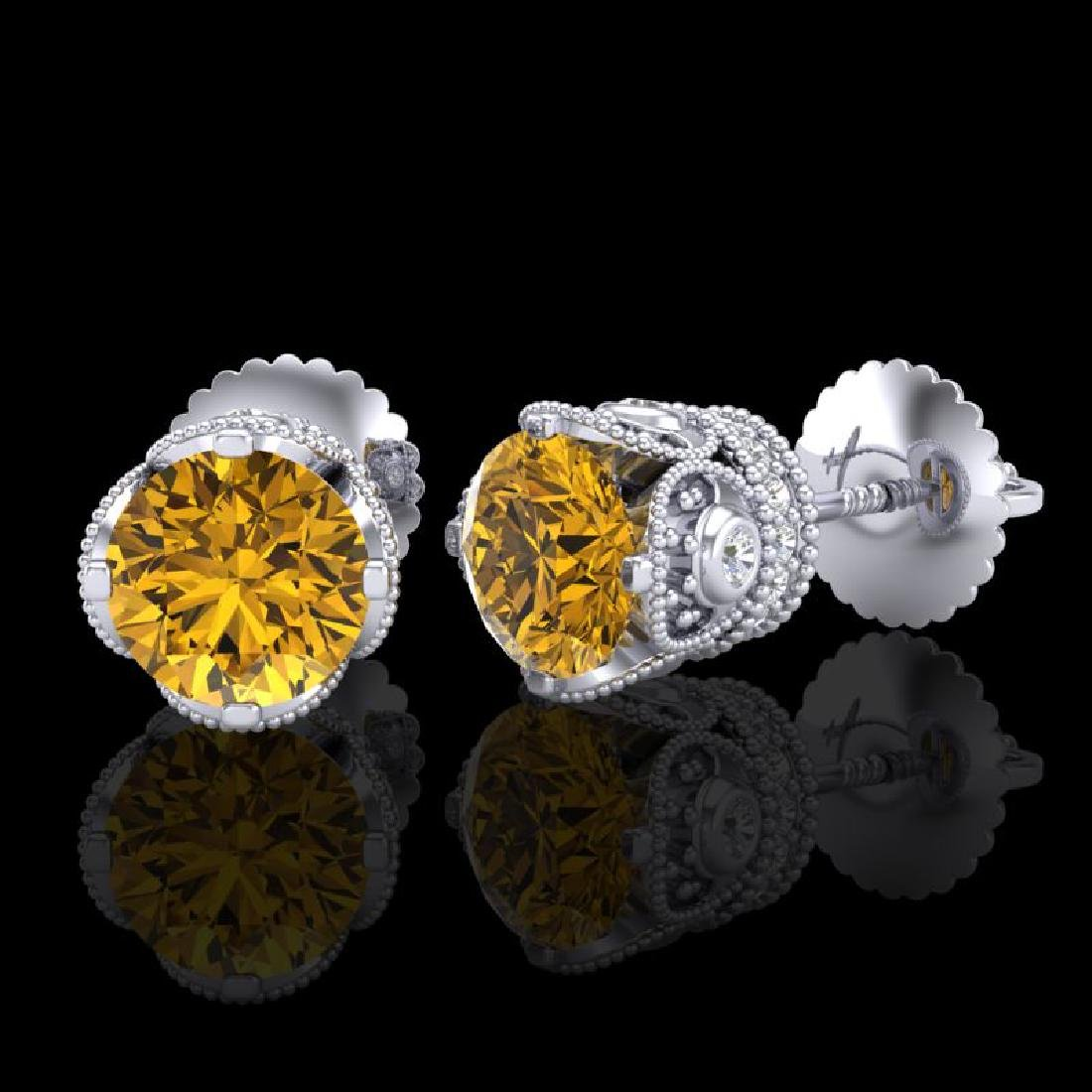 1.85 CTW Intense Fancy Yellow Diamond Art Deco Stud - 2