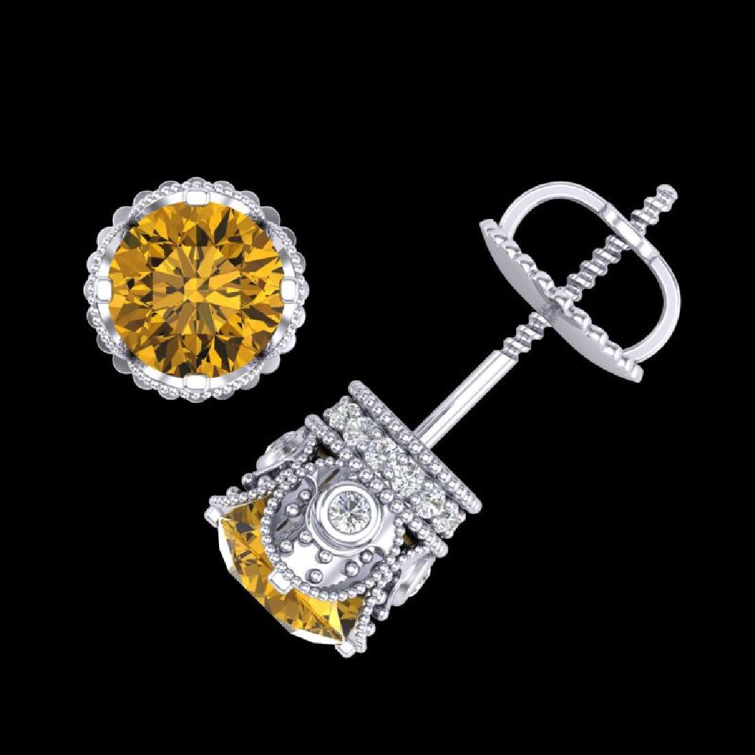 1.85 CTW Intense Fancy Yellow Diamond Art Deco Stud - 3