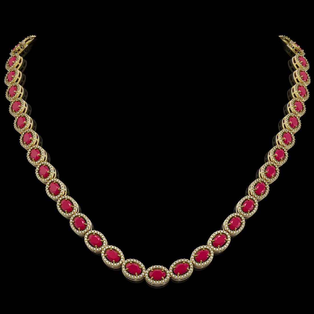 34.11 CTW Ruby & Diamond Halo Necklace 10K Yellow Gold