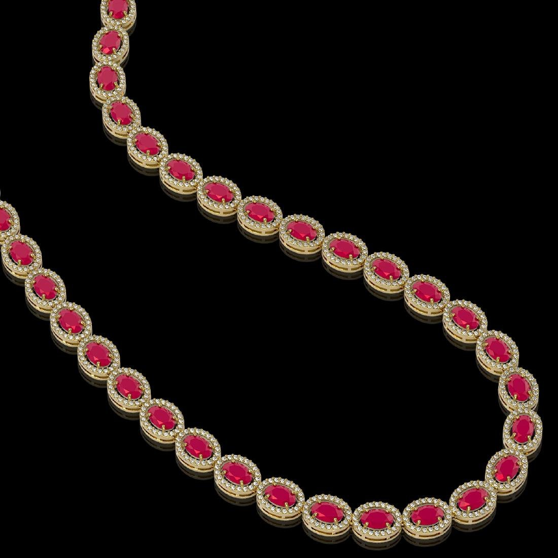 34.11 CTW Ruby & Diamond Halo Necklace 10K Yellow Gold - 2