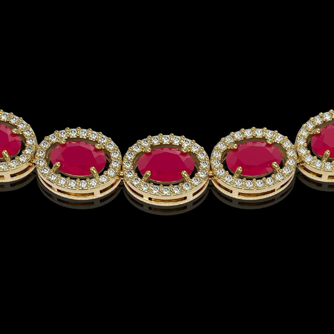 34.11 CTW Ruby & Diamond Halo Necklace 10K Yellow Gold - 3