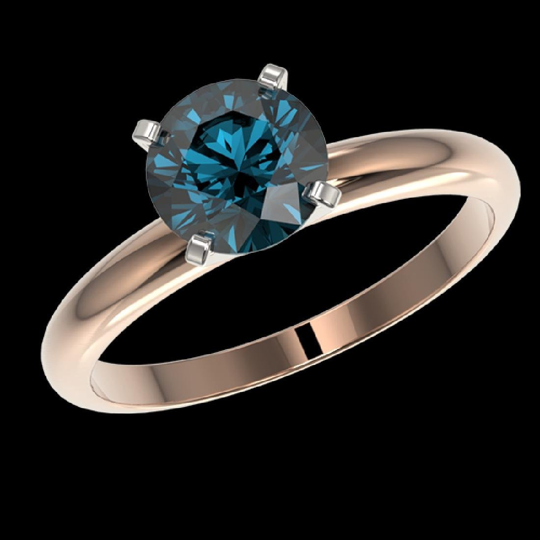 1.52 CTW Certified Intense Blue SI Diamond Solitaire - 2
