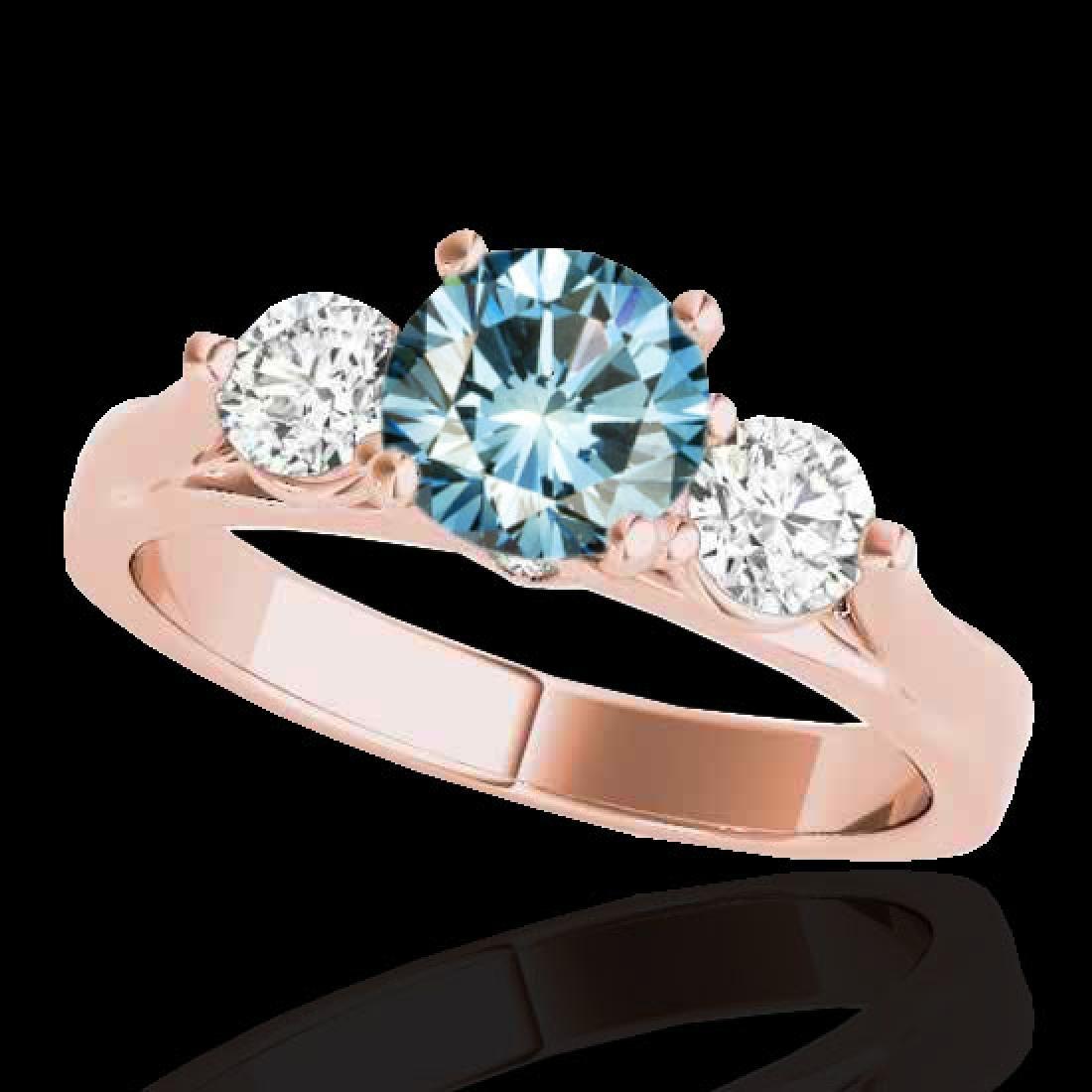 1.5 CTW SI Certified Fancy Blue Diamond 3 Stone