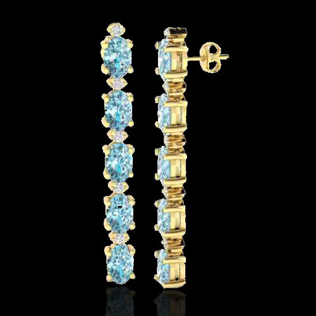 6 CTW Sky Blue Topaz & VS/SI Diamond Tennis Earrings - 2