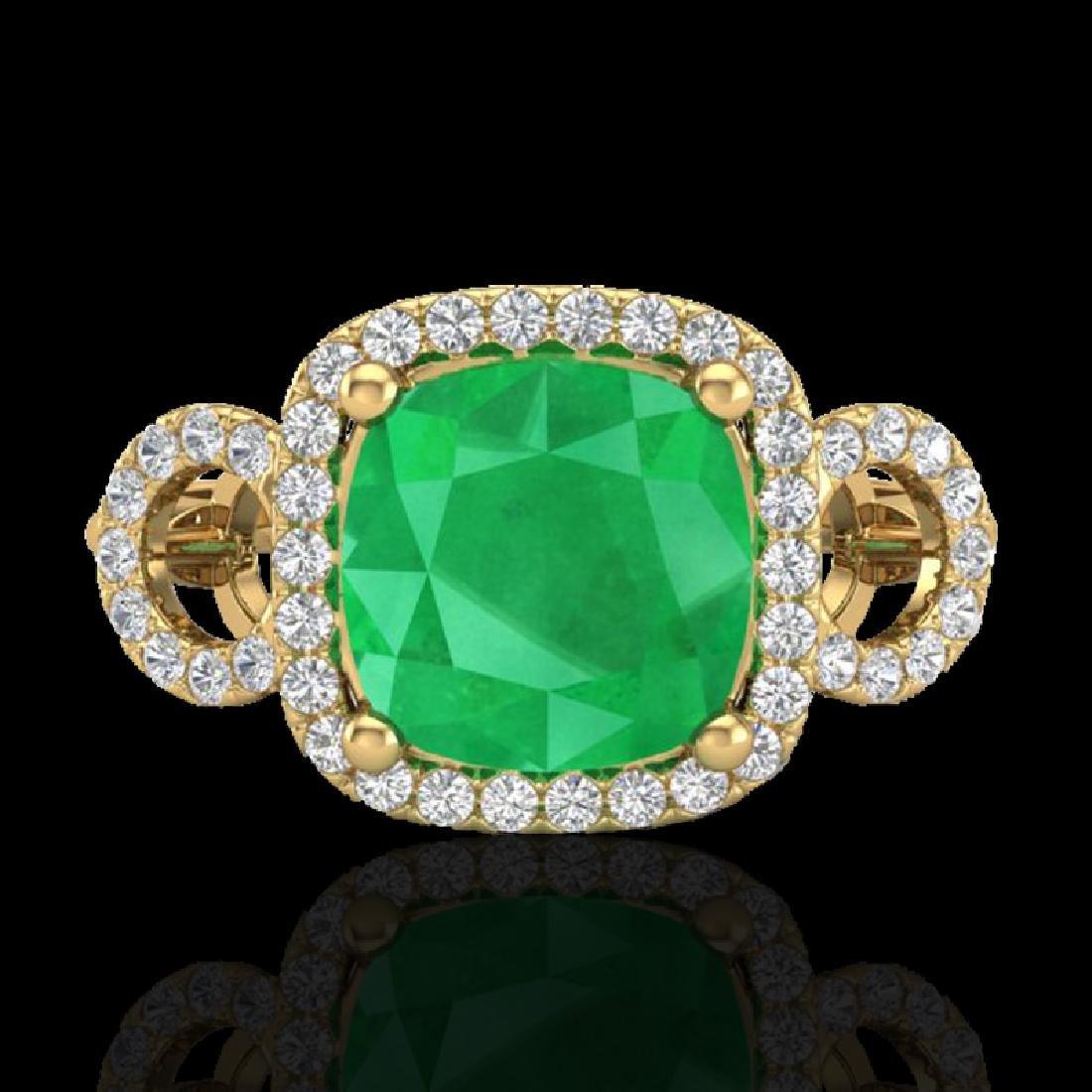 3.15 CTW Emerald & Micro VS/SI Diamond Ring 18K Yellow