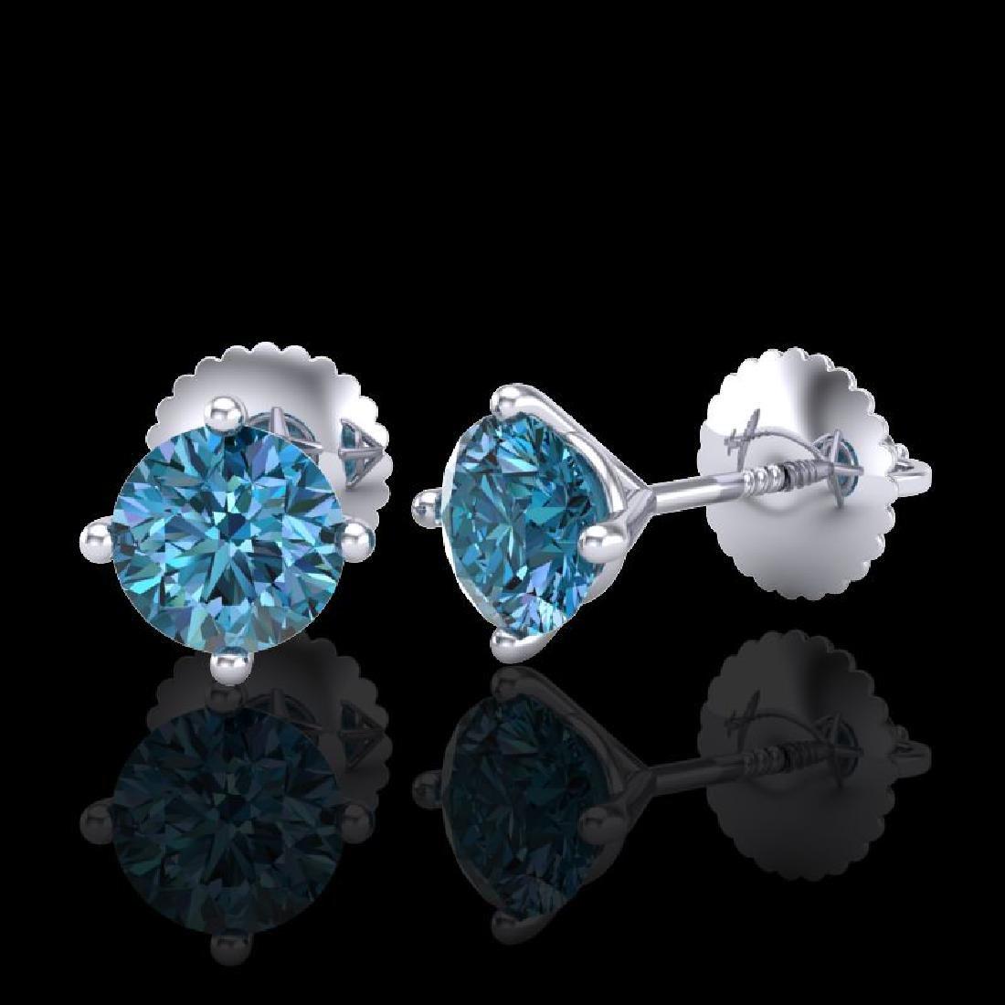 1.01 CTW Fancy Intense Blue Diamond Art Deco Stud - 2