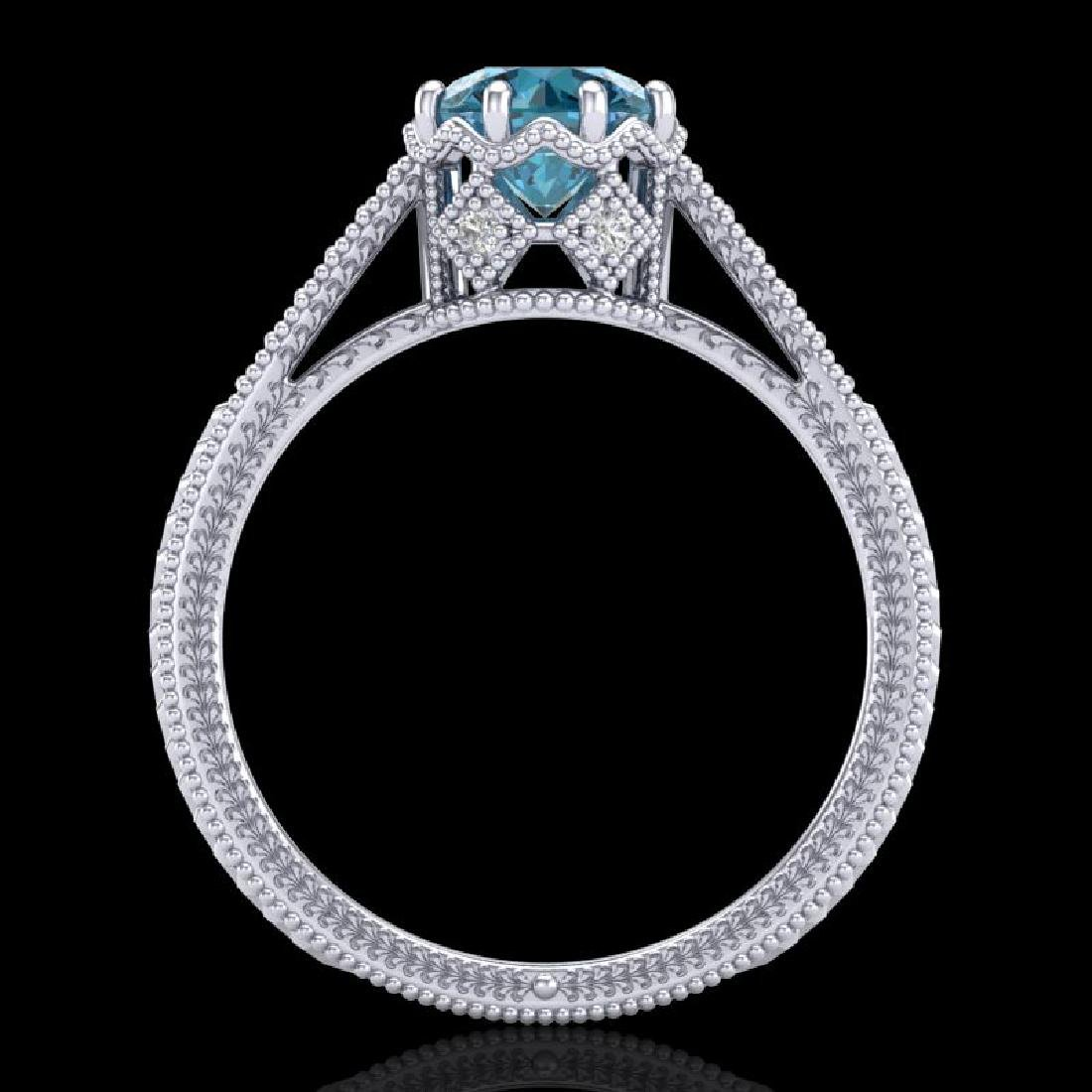 1.25 CTW Fancy Intense Blue Diamond Solitaire Art Deco - 3