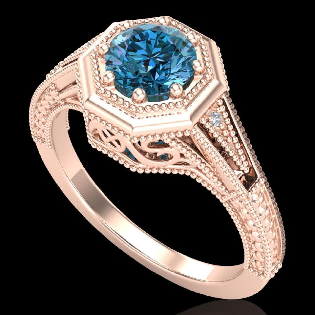 0.84 CTW Fancy Intense Blue Diamond Solitaire Art Deco