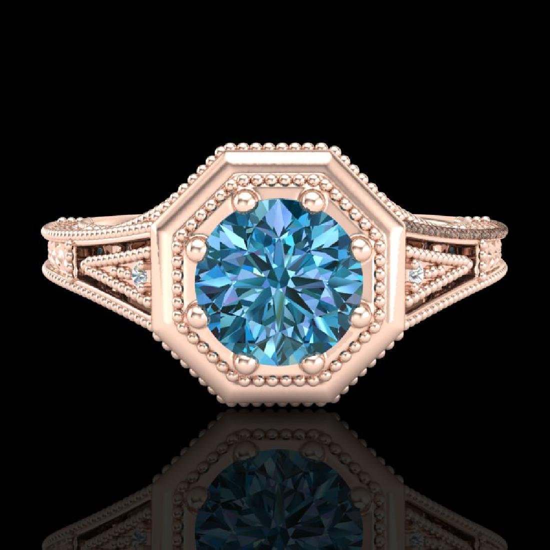 0.84 CTW Fancy Intense Blue Diamond Solitaire Art Deco - 2