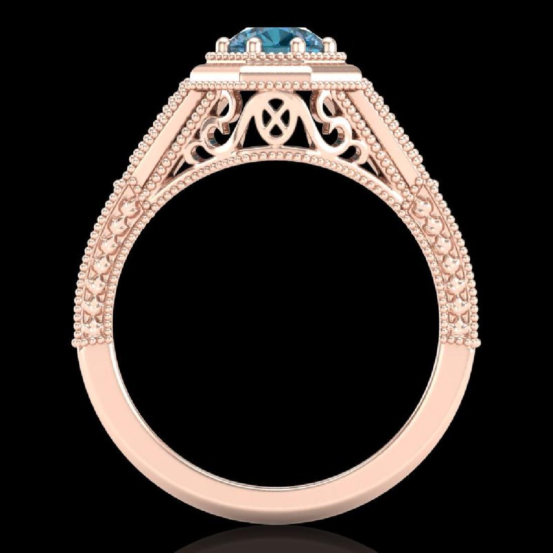 0.84 CTW Fancy Intense Blue Diamond Solitaire Art Deco - 3