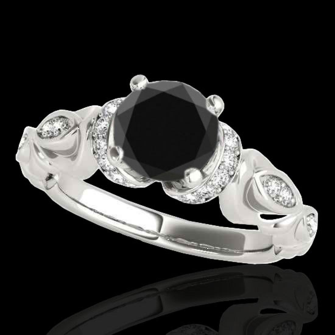 1.2 CTW Certified VS Black Diamond Solitaire Antique