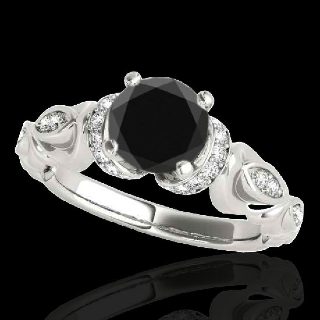 1.2 CTW Certified VS Black Diamond Solitaire Antique