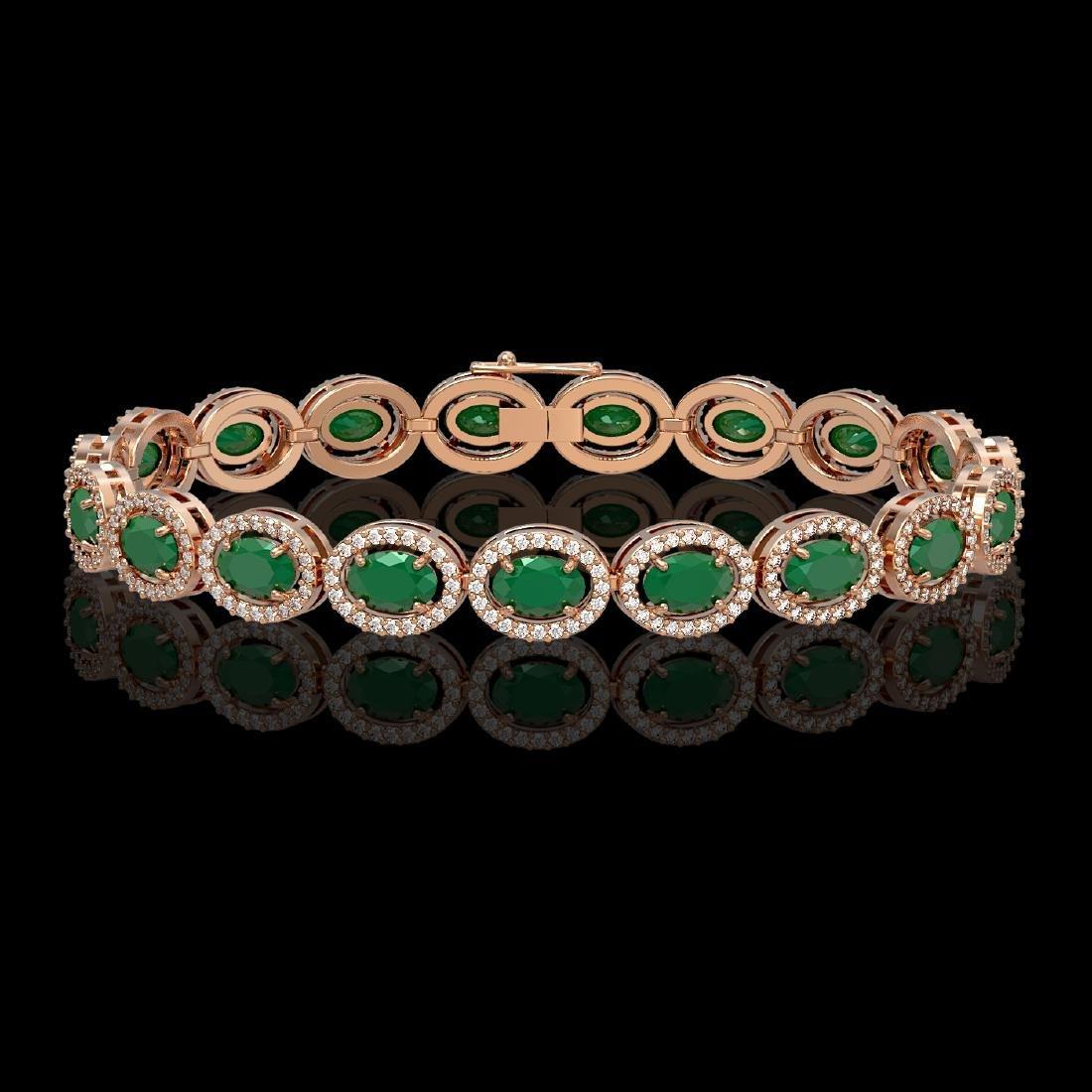 15.2 CTW Emerald & Diamond Halo Bracelet 10K Rose Gold