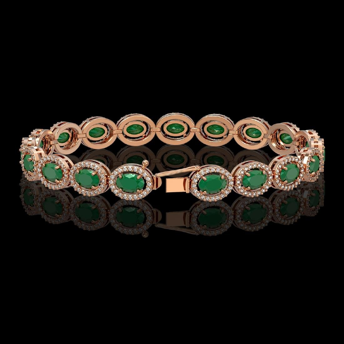 15.2 CTW Emerald & Diamond Halo Bracelet 10K Rose Gold - 2