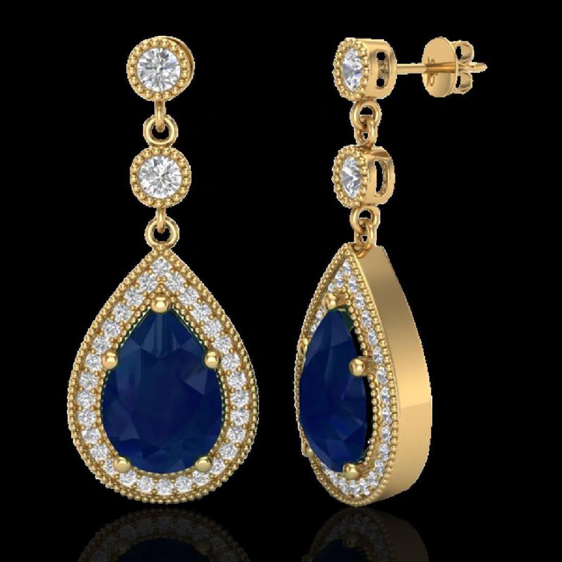 6 CTW Sapphire & Micro Pave VS/SI Diamond Earrings - 2