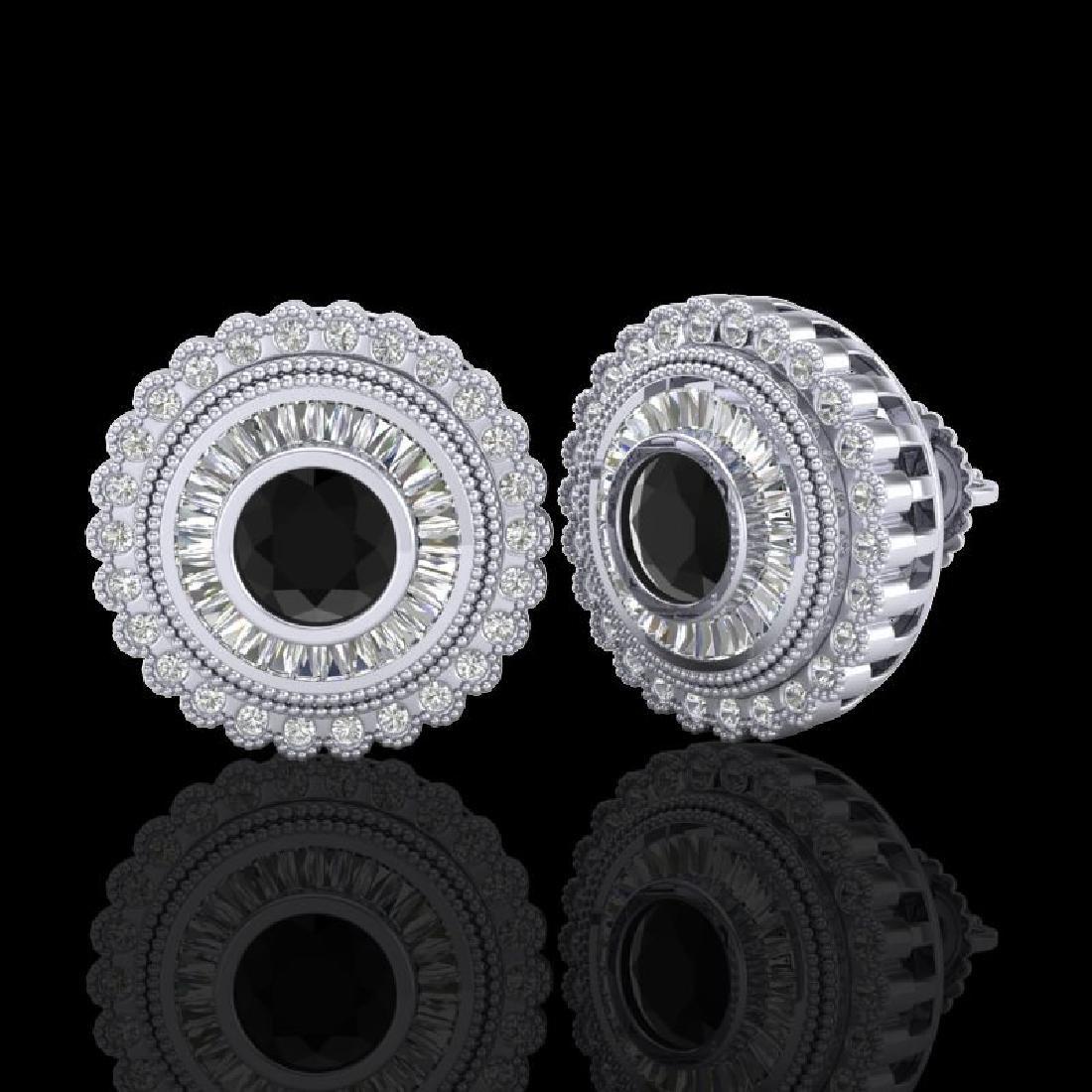 2.61 CTW Fancy Black Diamond Solitaire Art Deco Stud - 2