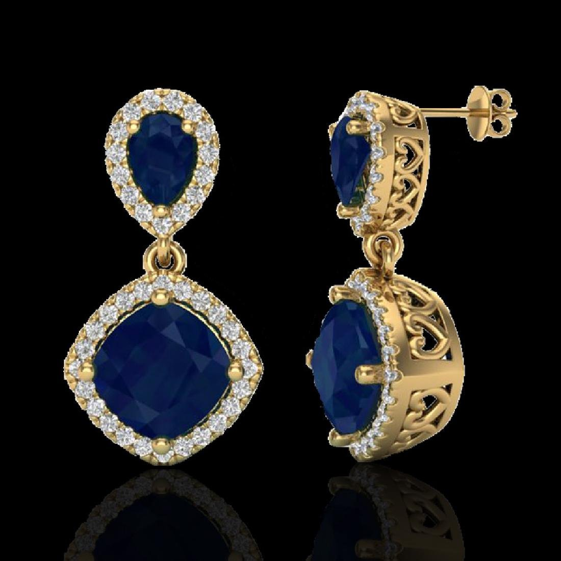 7 CTW Sapphire & Micro Pave VS/SI Diamond Earrings - 2